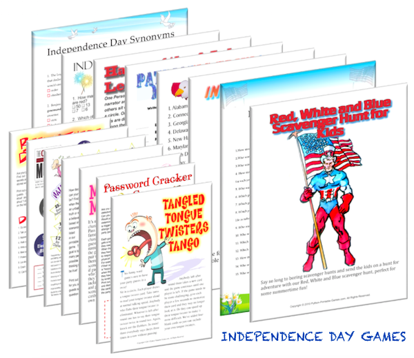 Independence Day Printable Games, Printable Patriotic Games