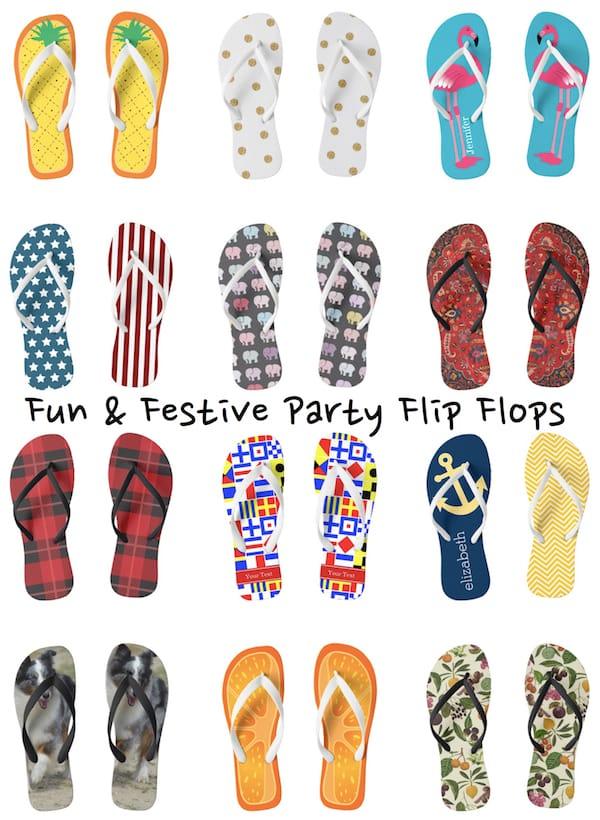 Themed Fun & Festive Party Flip Flops