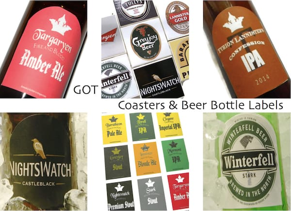 Game of Thrones Coasters and Beer Bottle Labels