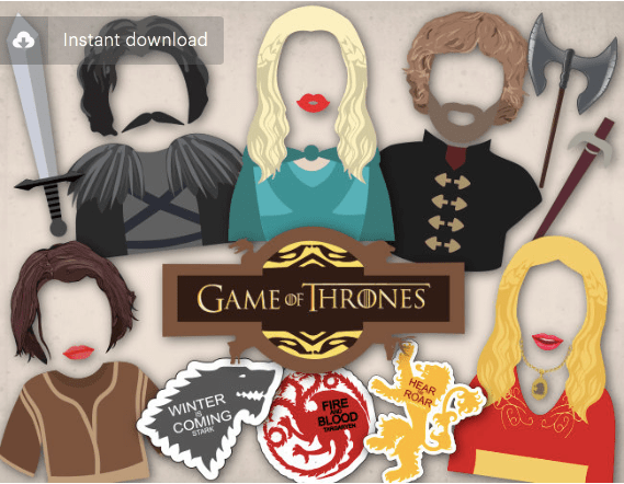 Printable Game of Thrones Photo Booth Props