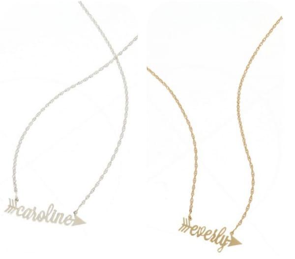Arrow name necklaces