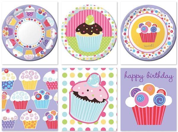 Cupcake Birthday Plates and Napkins
