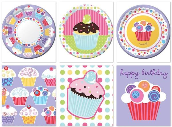 Cupcake Birthday Plates and Napkins