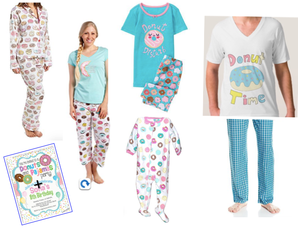 Donuts and Pajamas Matching Family Sleepwear and invitation, Family Matching Pancake, Donut and Cupcake Pajamas