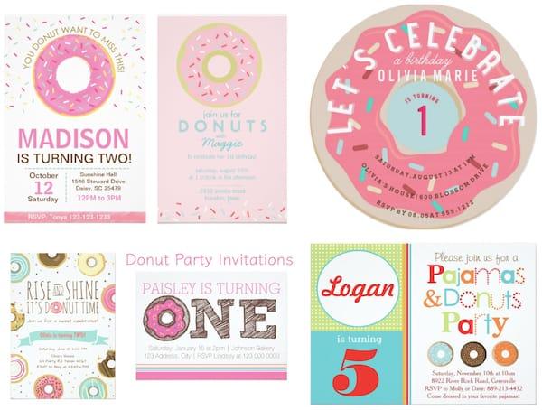 Donuts and Pajamas Party Invitations