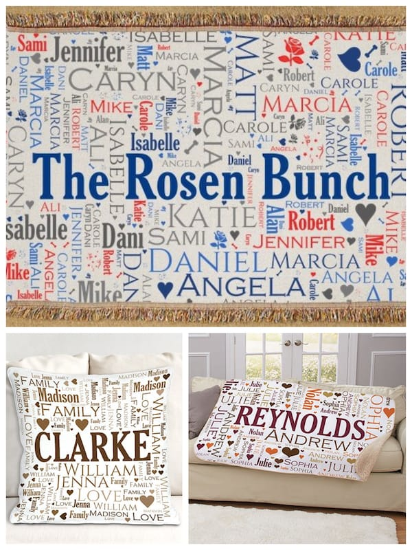 Family Word Art Throw Blankets and Pillows