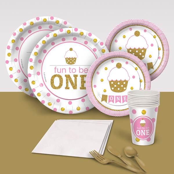 Fun to be One Cupcake Birthday Party Supplies