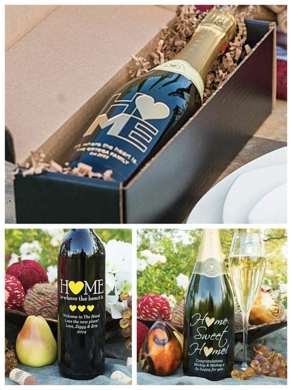 Home Sweet Home Etched Wine Bottles, Housewarming Party Gifts with Special Meaning