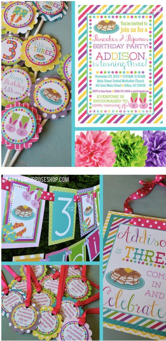 Pancakes and Pajamas Birthday Party Decorations