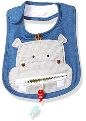 Cute blue baby hippo bib
