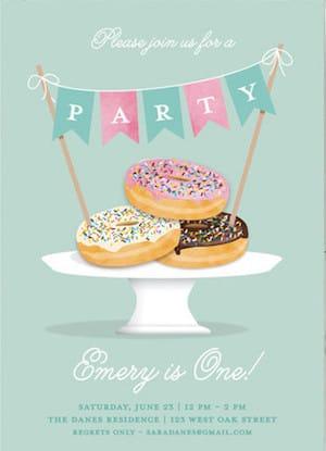 Everyone Loves Donuts Birthday Party Invitations