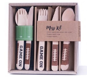 Game On Football Wooden Silverware Kit