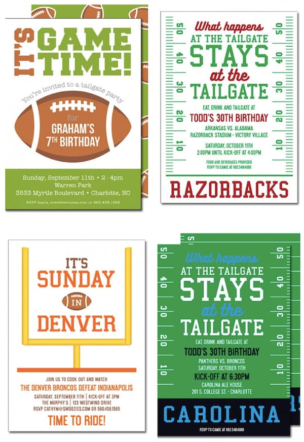 Tailgate & Celebrate Football Themed Couples Wedding Shower Invitations