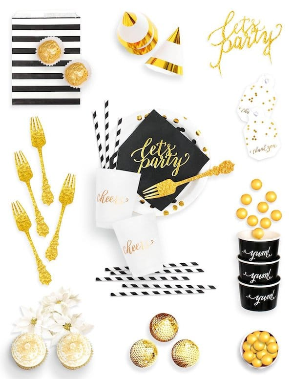 Black Gold Party Decorations in a Crate
