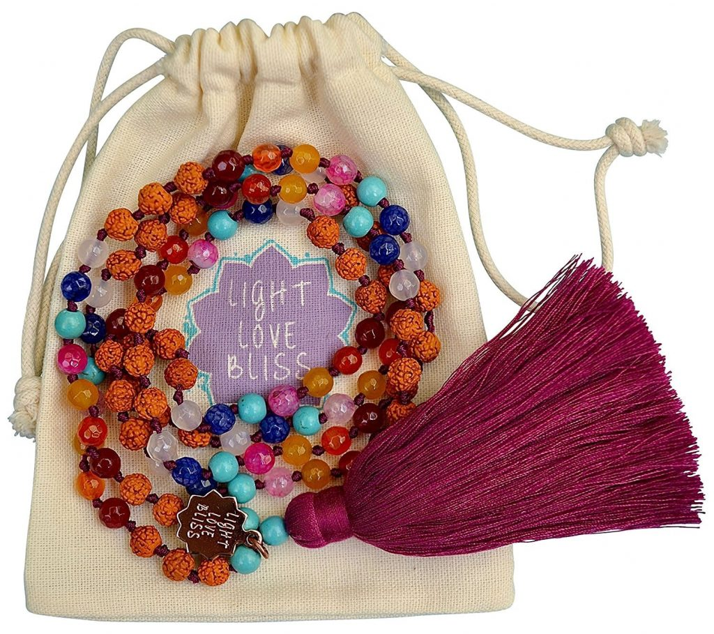 Chakra Necklace With Mala Beads Rainbow