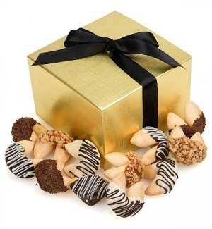 Chocolate Dipped Fortune Cookies with Message of Good Fortune