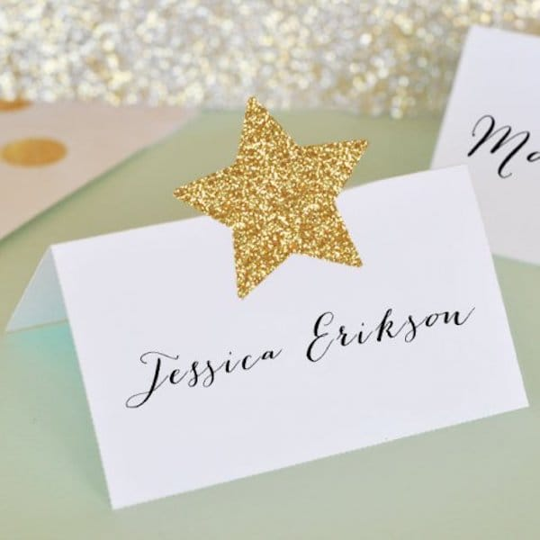 DIY Gold Glitter Star Sticker Place Card