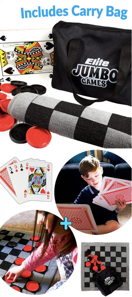 Large Playing Cards Jumbo Checker Rug Game and Tic Tac Toe all in 1 Game Bag with Carrying Case