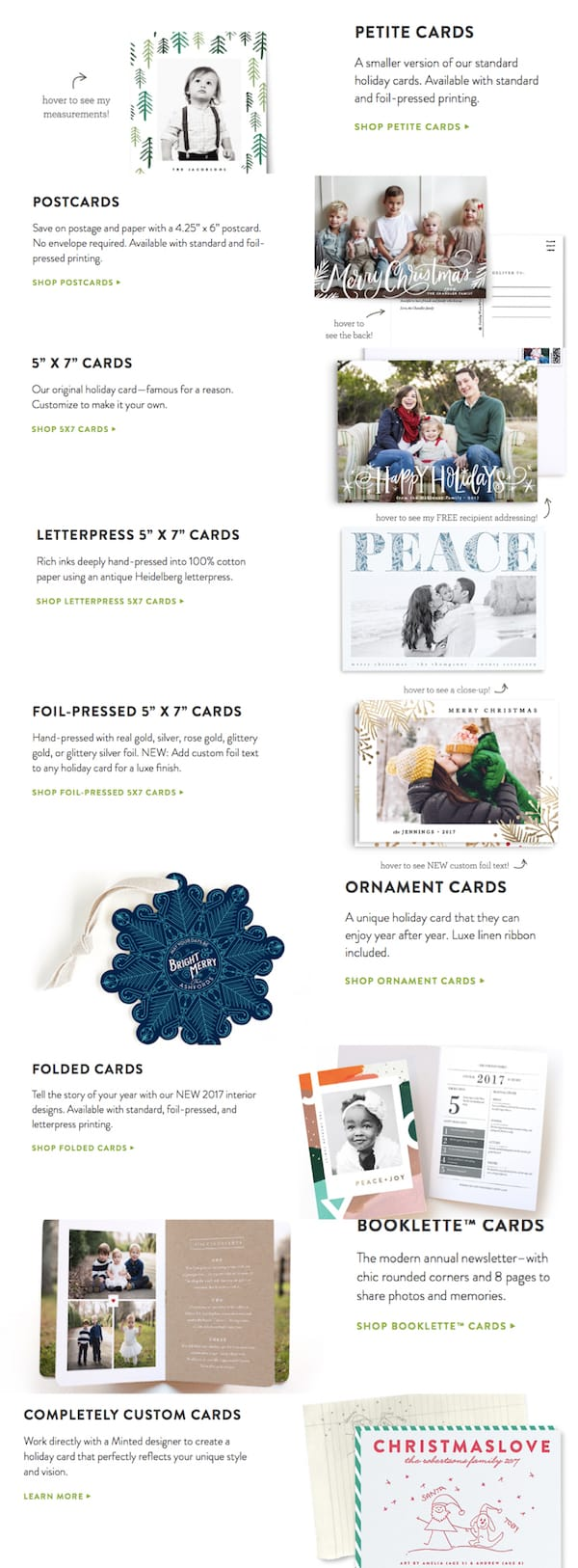 Minted Holiday Cards Formats and Styles
