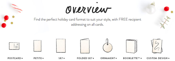 Minted holiday card format overview