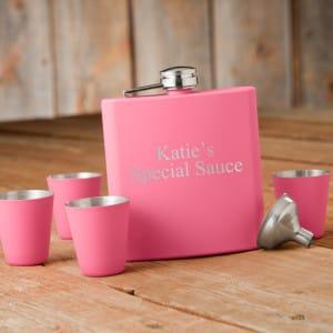Personalized Pink Flask Shot Glass Gift Box Set