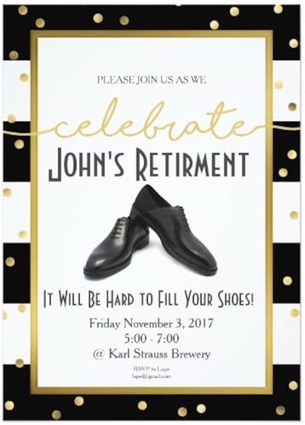 Personalized Retirment Party Invitations - It Will Be Hard to Fill Your Shoes