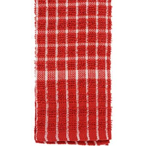 Red and White Checked Cotton Terry Kitchen Towels