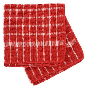 Red and White Checked Cotton Terry Square Kitchen Towels