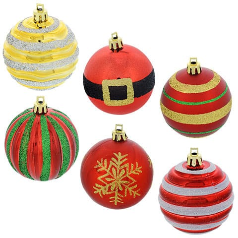 Round Plastic Decorated Ball Ornaments
