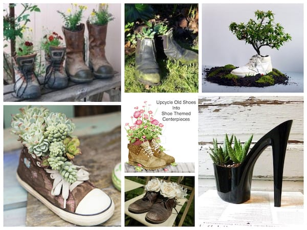 Upcycle Old Shoes into Shoe Themed Centerpieces