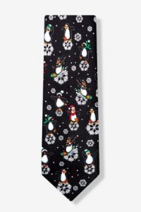 black polyester dancing penguins tie