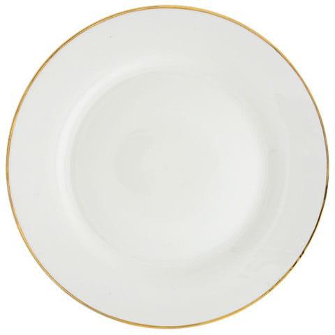 gold rimmed white stoneware dinner plates