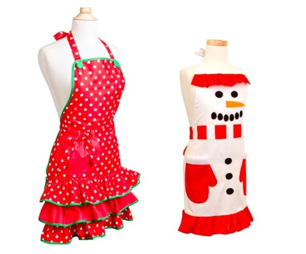 Women and kids snowmen holiday christmas aprons