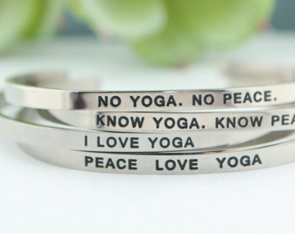 Yoga bracelet holiday present for yogi