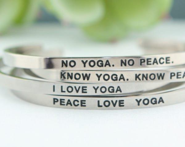 Yoga bracelet holiday present for yogi