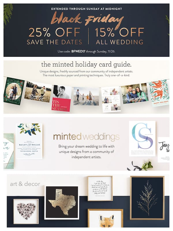 Minted Holiday Cards, Wedding, and Art and Decor Sale