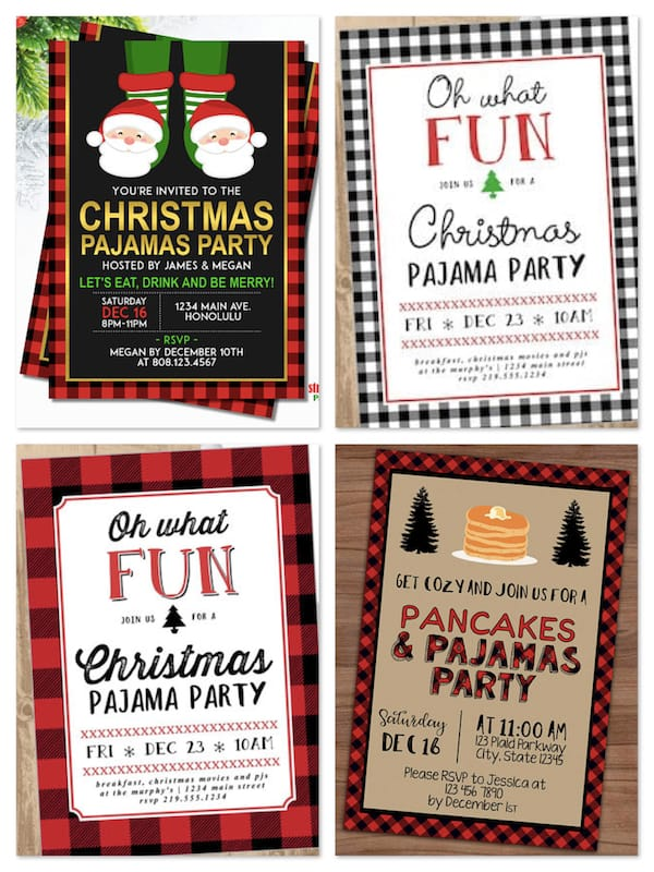Printable Christmas Pajama Party Invitations
