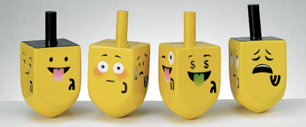 Wooden Dreidels Painted with Emojis