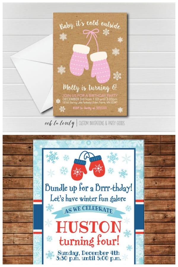 baby its cold mitten invitations