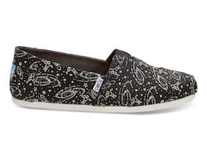 Mens Glow In The Dark Black Space TOMS Shoes