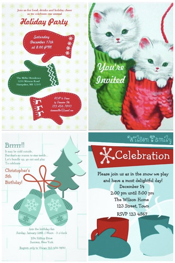 Mitten winter party invitations