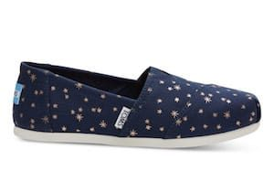 Navy Blue Light Burst Stars Womens TOMs Shoes