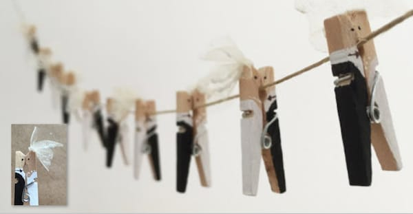 Bride and Groom Clothespins