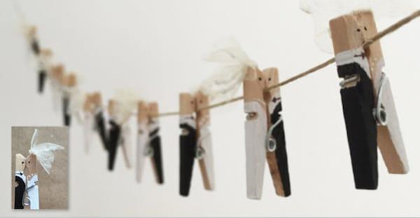 Bride and Groom Clothespins