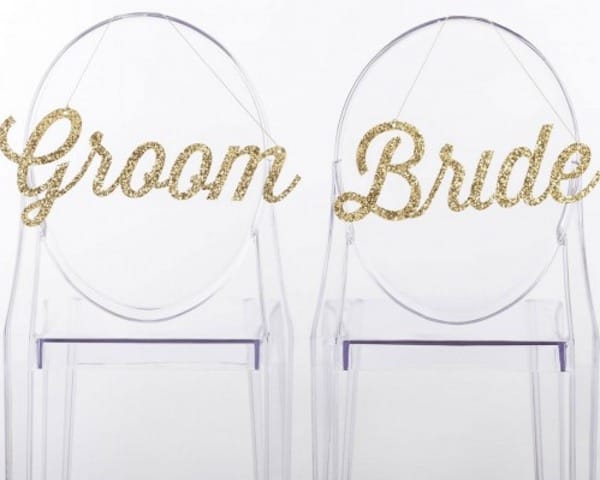Bride and Groom Glitter Chair Signs