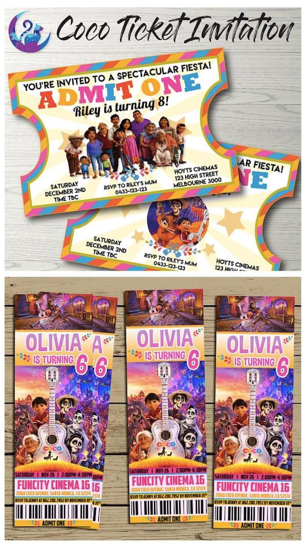 Coco Ticket Invitations