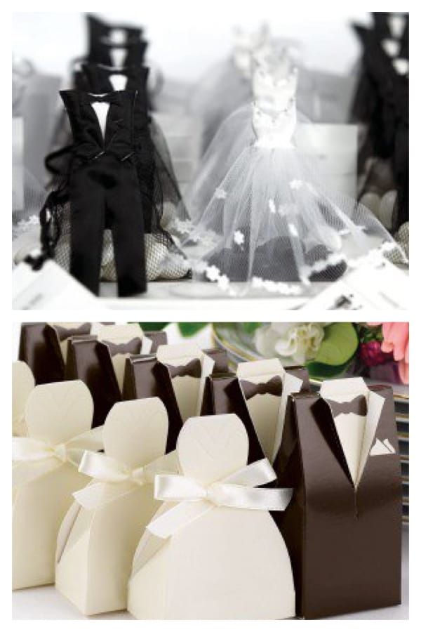 Happy Couple Bride and Groom Favor Boxes and Favor Bags