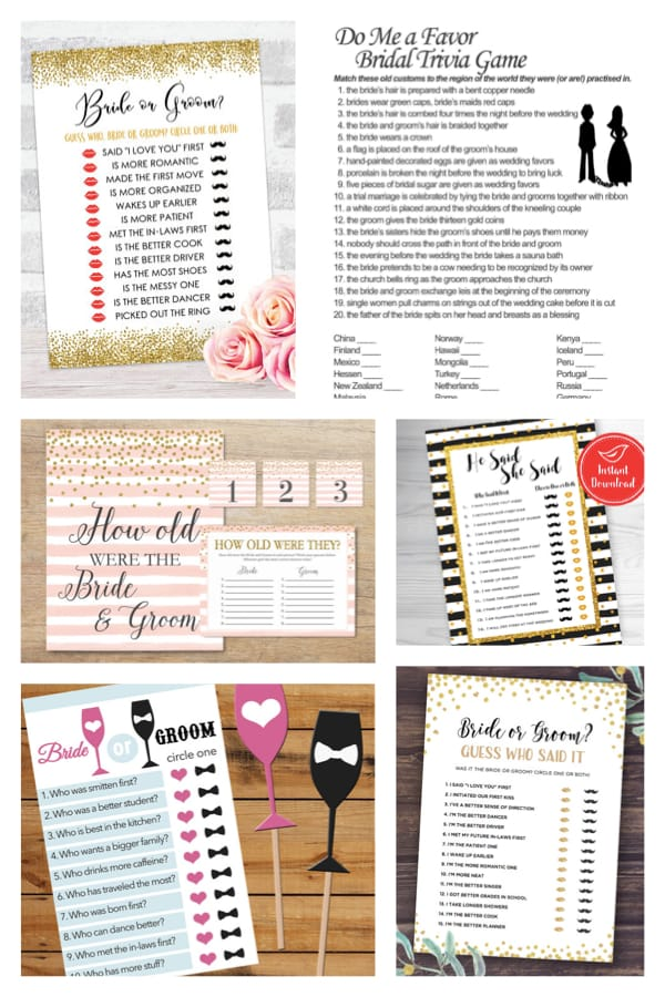 Happy Couple Bride or Groom Printable Games