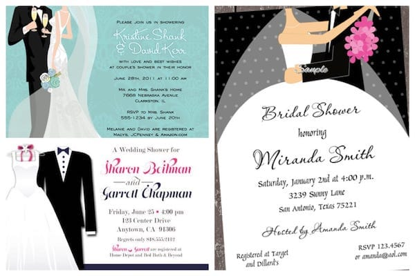 Happy Couple Bride and Groom Shower Invitations