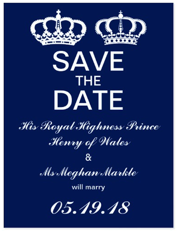 Prince Harry and Meghan Royal Wedding Save the Date